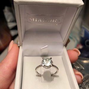 Miadora Jewelry - Miadora 10k White Gold Aquamarine Halo Ring a282f117071